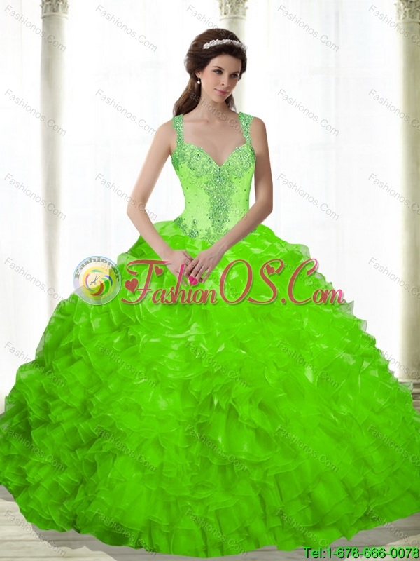 Beautiful Beading and Ruffles Sweetheart 15 Quinceanera Dresses in Spring Green