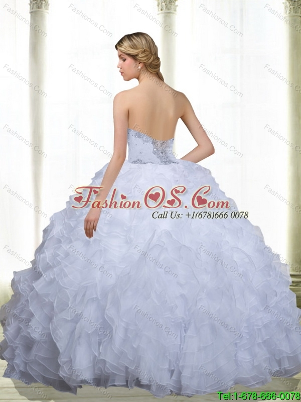 Cheap Beading and Ruffles Sweetheart 15 Quinceanera Dresses in White