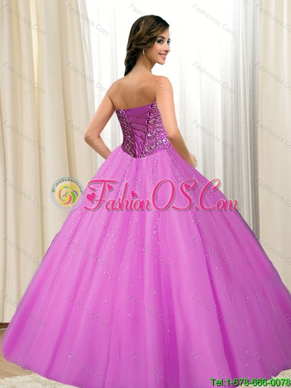 Perfect 2015 Tulle Sweetheart Beading 15 Quinceanera Dresses in Fuchsia