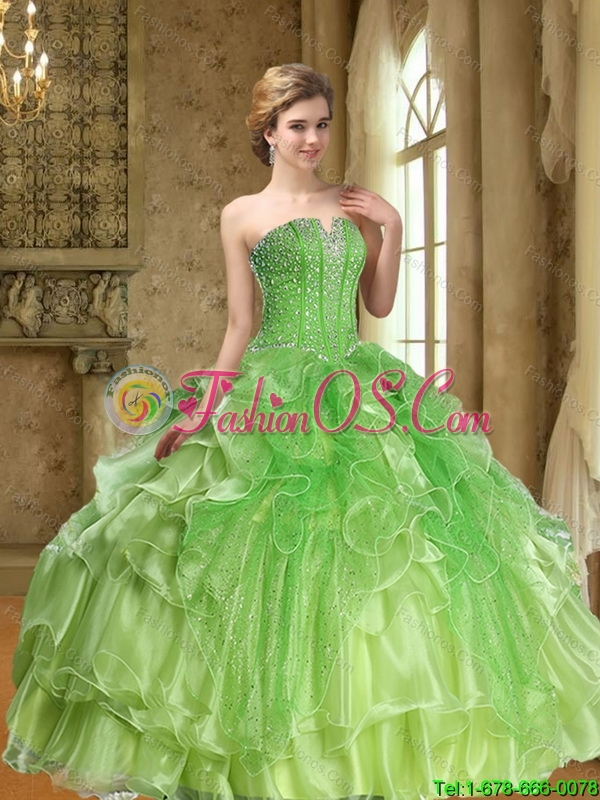 Unique Lime Green 15 Quinceanera Dresses  with Beading and Ruffles