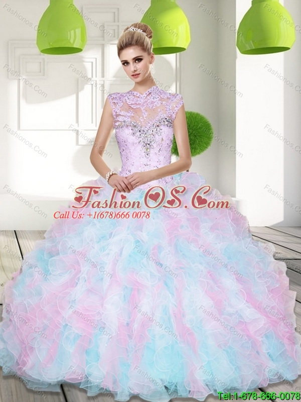 Wonderful Sweetheart Beading and Ruffles 15 Quinceanera Dresses in Multi Color