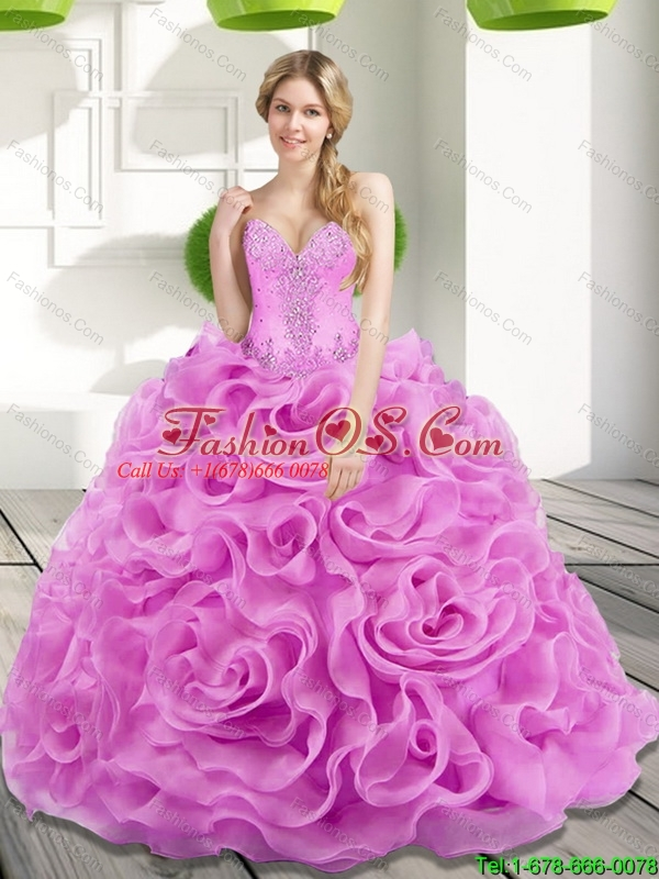 2015 Custom Made Beading and Rolling Flowers Lilac Sweet 15 Dresses