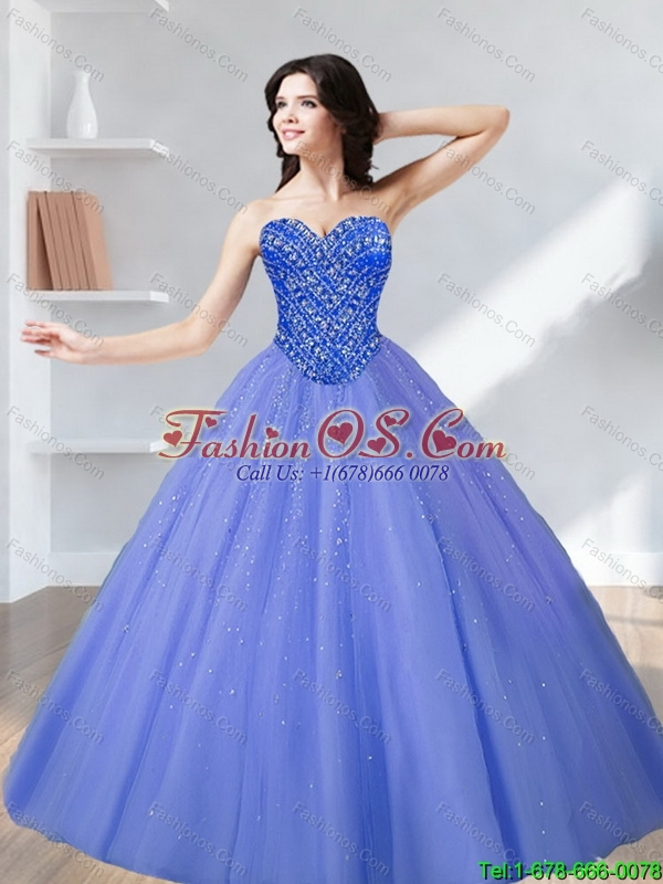 2015 Custom Made Beading Sweetheart Tulle Quinceanera Dresses in Lavender