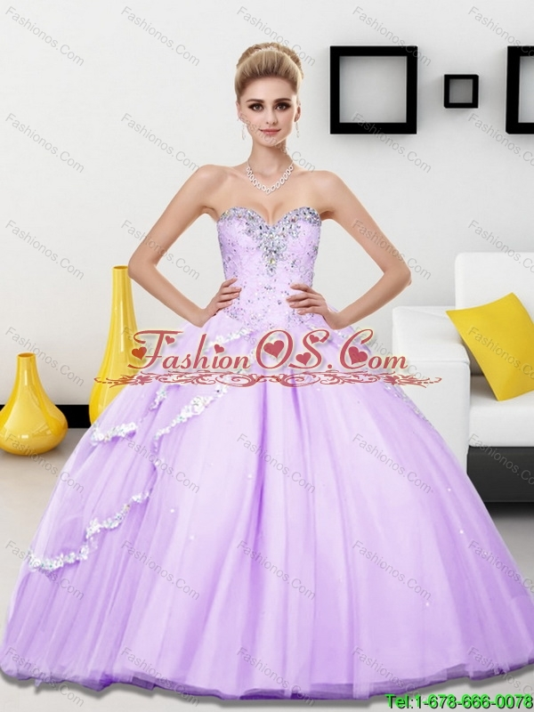 Custom Made Beading Sweetheart Quinceanera Dresses for 2015