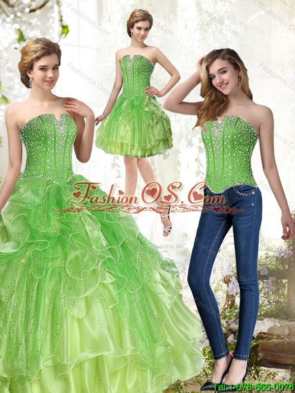 Detachable Lime Green 2015 Quinceanera Dresses with Beading and Ruffles