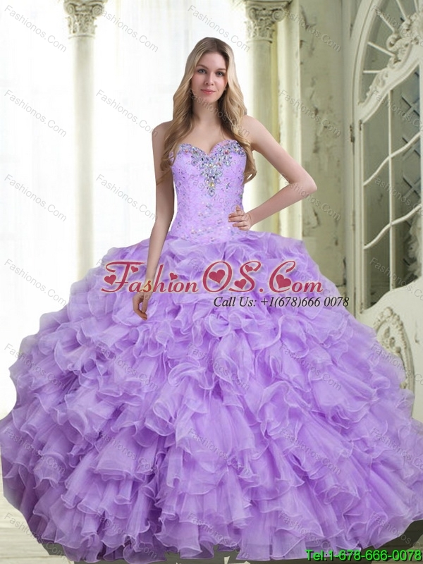 Pretty Beading and Ruffles Sweetheart Quinceanera Dresses for 2015