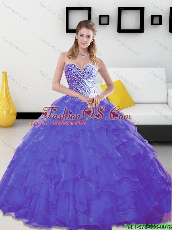 Beautiful Beading and Ruffles Sweetheart Lavender Sweet 16 Dresses for 2015