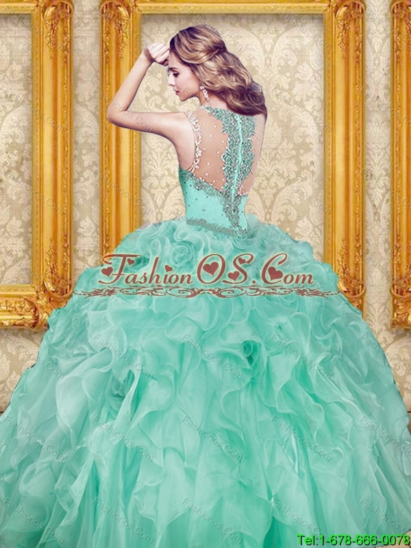Brand New Beading and Ruffles Sweet 16 Dresses in Apple Green