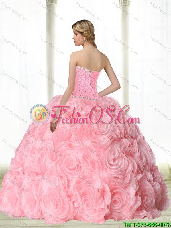 Puffy Baby Pink Quinceanera Dresses  with Beading for 2015
