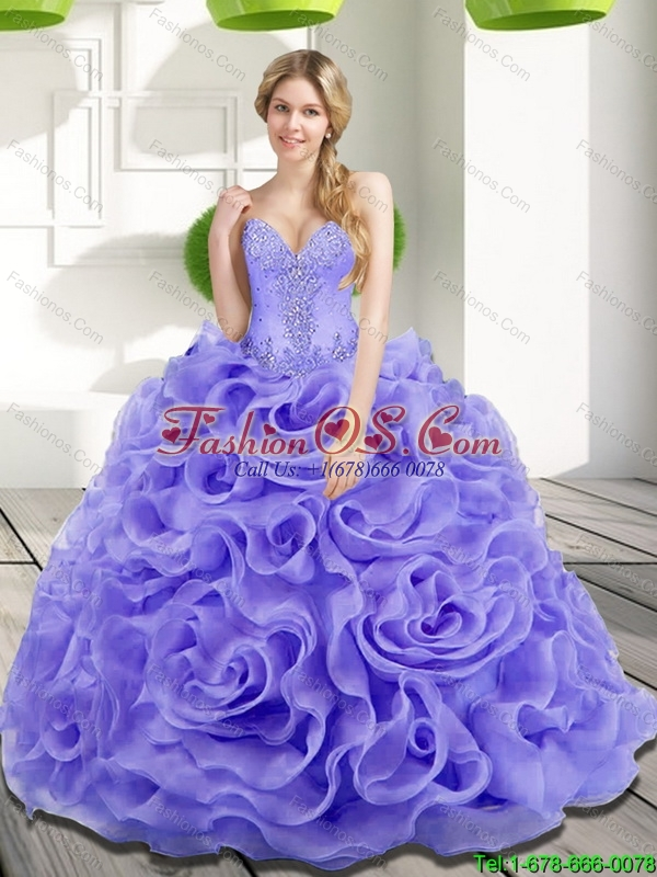 Unique Beading and Rolling Flowers 2015 Quinceanera Dresses in Lavender