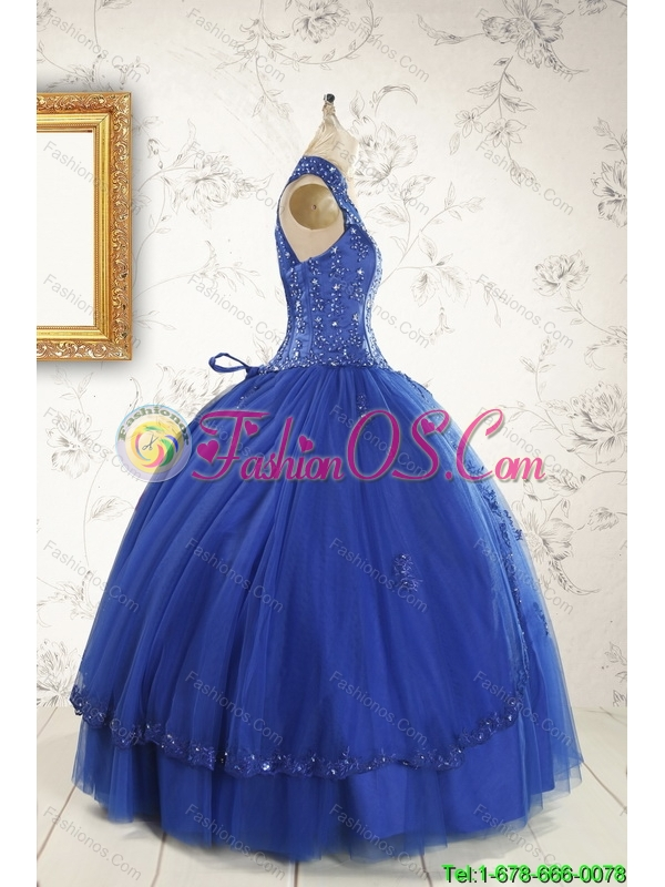 2015 Custom Made Halter Top Appliques and Beading Dresses For Sweet 15 Dresses in Royal Blue