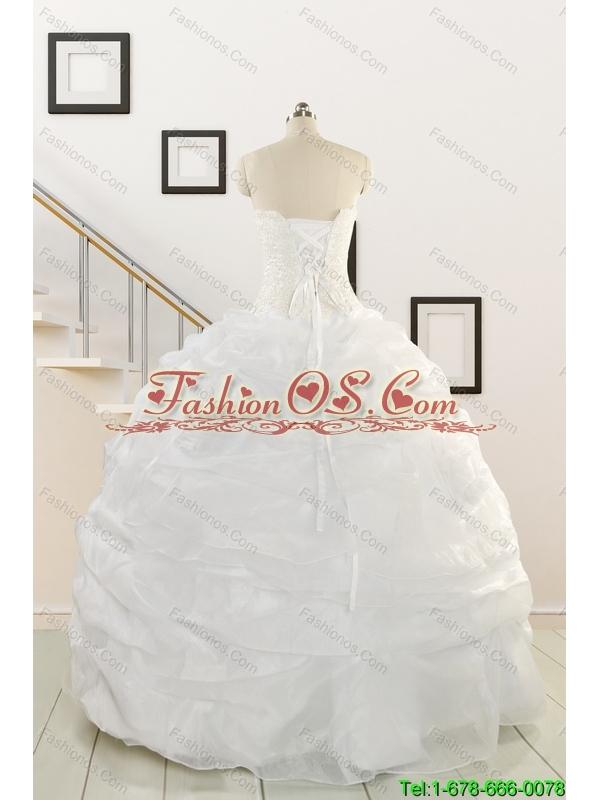 Custom Made White Beading Quinceanera Dresses for 2015