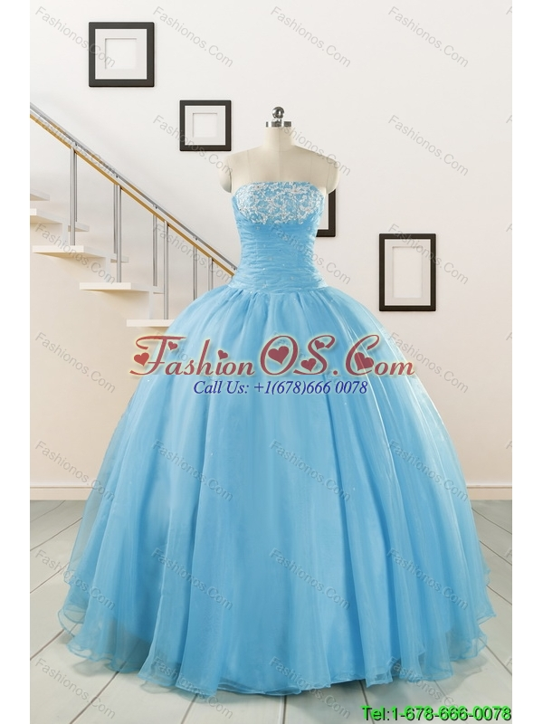 New Arrival and Cheap Strapless Quinceanera Dresses with Appliques