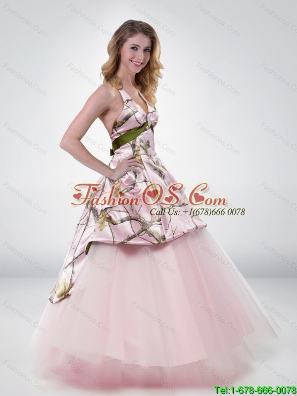 Wonderful Princess Halter Top 2015 New Wedding Dress with Belt