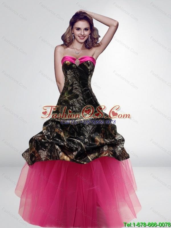 2015 Fashionable Princess Long Hot Pink New Wedding Dresses