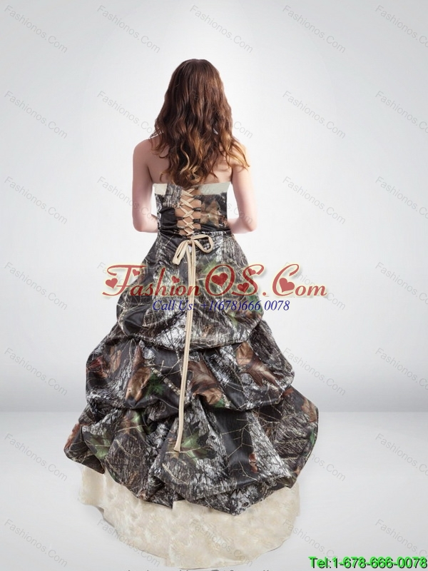 Elegant Strapless Brush Train 2015 New Wedding Dresses with Pick Ups
