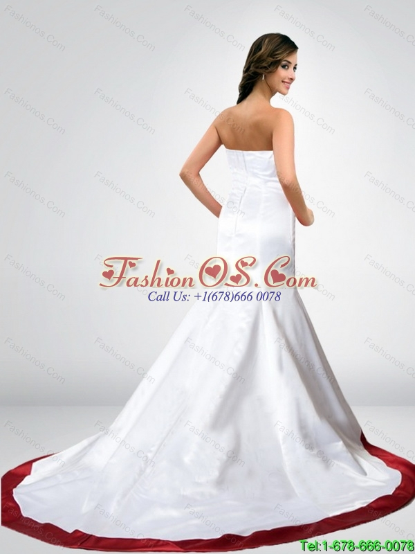Wonderful Mermaid Strapless New Wedding Dresses in Court Train