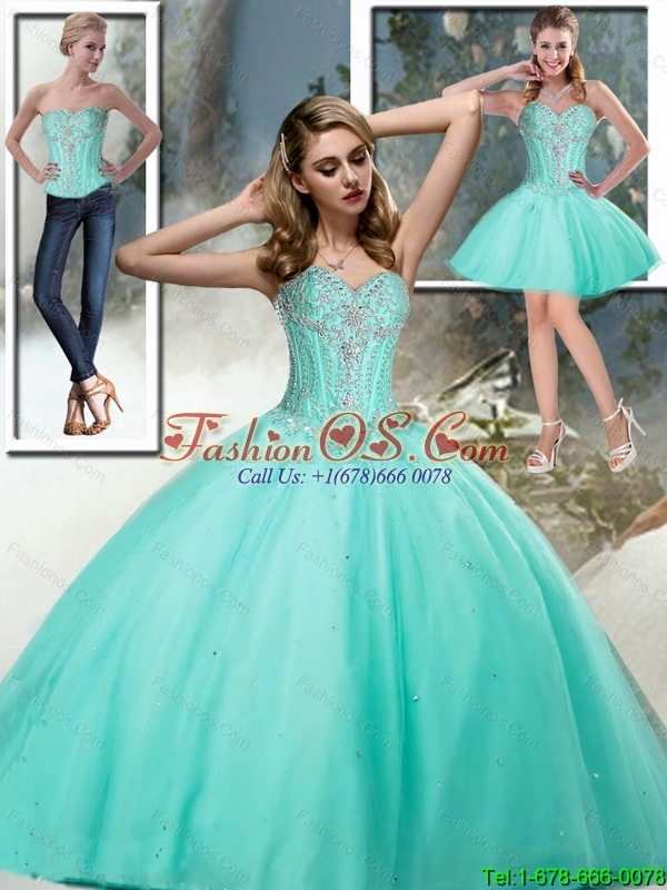 Perfect Sweetheart Quinceanera Dresses with Beading in Aqua Blue For 2015 Fall
