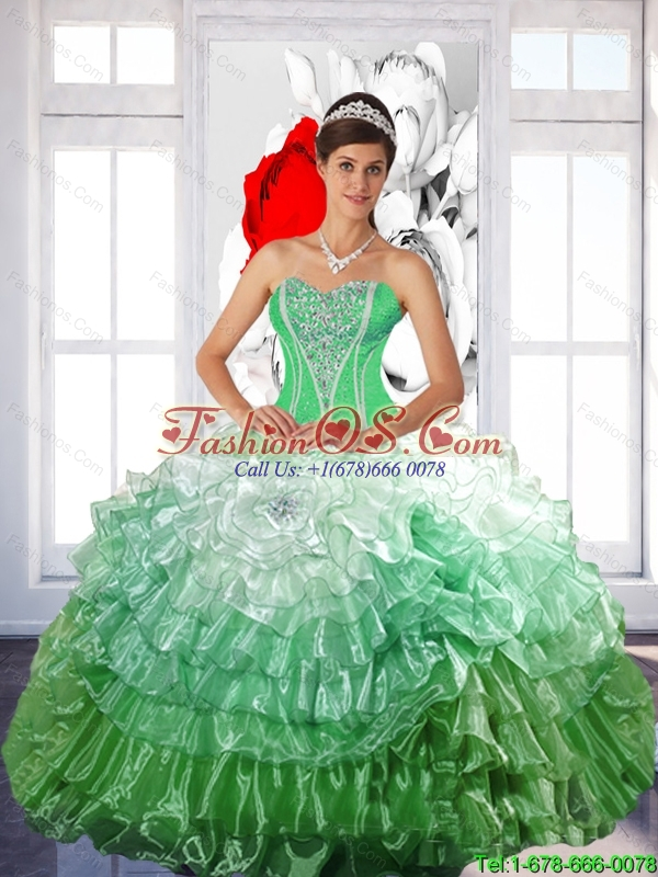 Pretty 2015 Summer Ball Gown Quinceanera Dress with Ruffled Layers and Beading