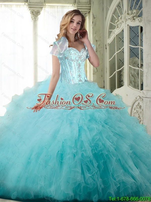 Beautiful Ball Gown Sweetheart Quinceanera Dresses with Beading and Ruffles For 2015 Summer