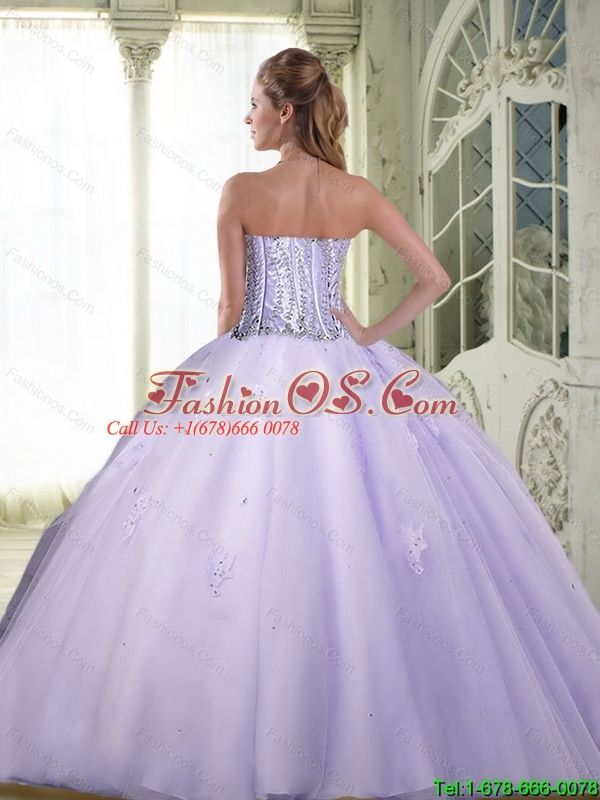 Luxurious Beaded Sweetheart Quinceanera Dresses in Lavender for 2015 Summer
