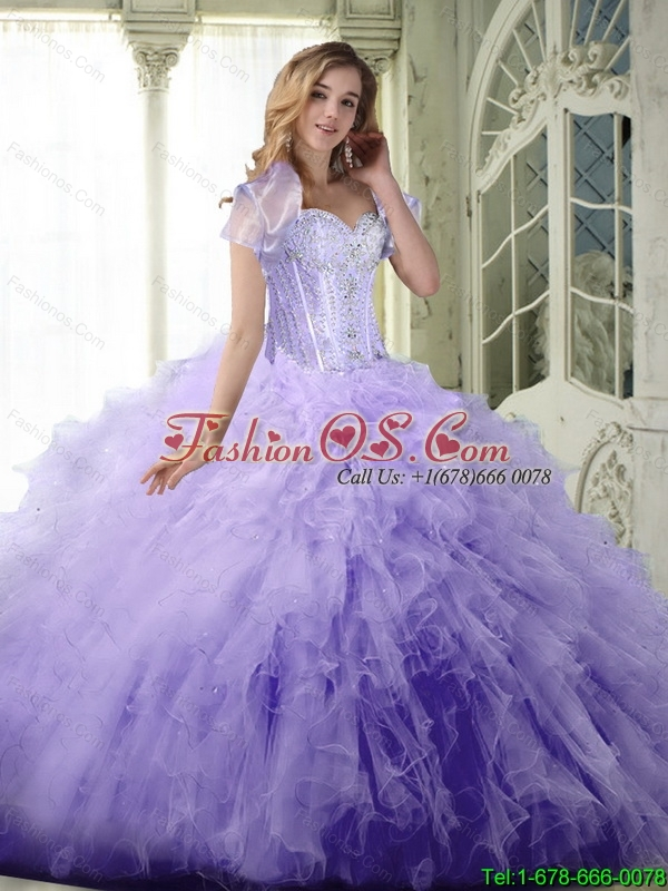 Perfect Ball Gown Sweetheart Lavender Quinceanera Dresses with Beading and Ruffles For 2015 Summer