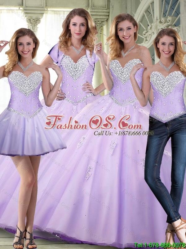 Elegant 2015 Summer Beaded and Appliques Lavender Sweet 16 Dresses