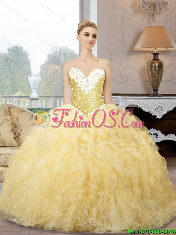 Elegant Sweetheart Sweet 16 Dresses with Beading and Ruffles For 2015 Summer