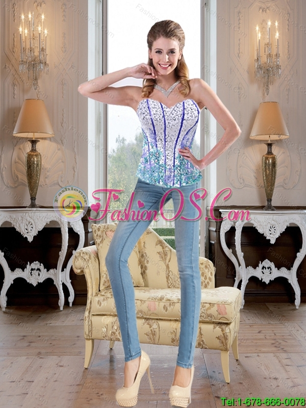 New Style Beaded Baby Blue Sweet 16 Dresses with Appliques and Pick Ups For 2015 Summer