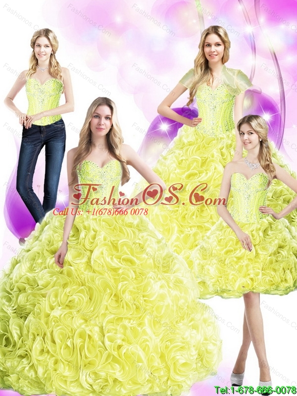Perfect  2015 Yellow Sweet 16 Dresses with Rolling Flowers and Beading