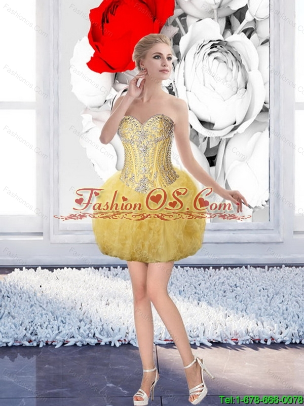 Perfect Ball Gown Yellow Sweet 16 Dresses with Beading For 2015 Summer