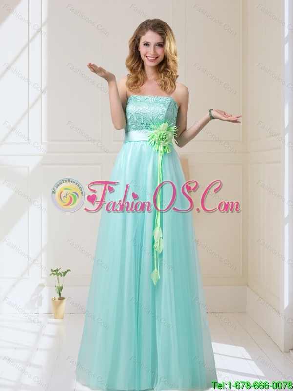 2015 Empire Strapless Prom Dresses with Hand Made Flowers