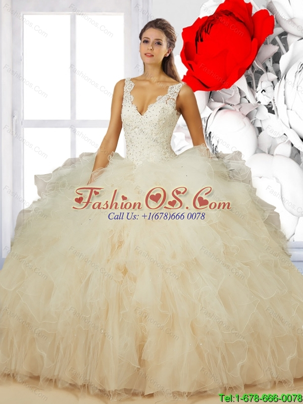 Elegant 2015 Summer V Neck Champagne Quinceanera Dresses with Ruffles