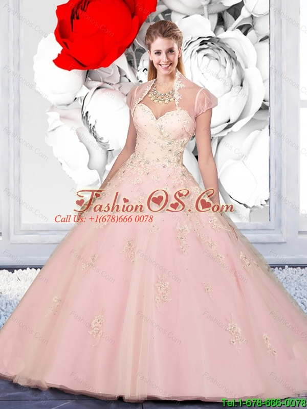 New Arrival Appliques 2015 Summer Quinceanera Dresses in Baby Pink