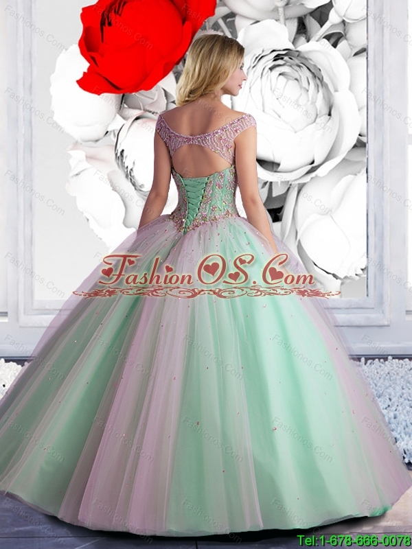 Perfect 2015 Summer Off The Shoulder Beaded Quinceanera Dress in Champagne