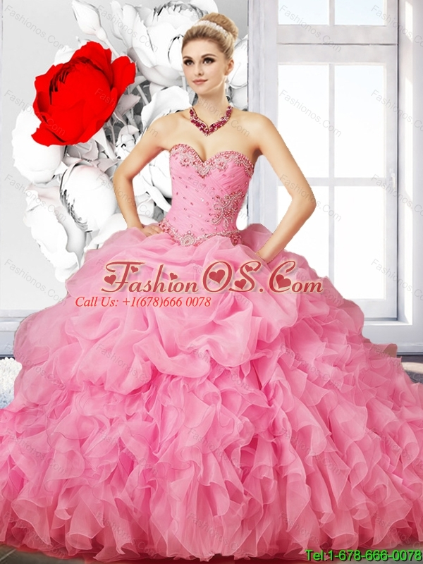 Perfect Rose Pink Beaded Quinceanera Dress with Ruffles for Summer