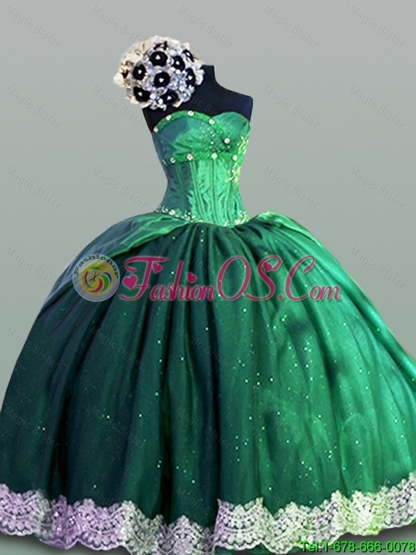 Luxurious Sweetheart Lace Quinceanera Dresses in Taffeta for 2016 Summer