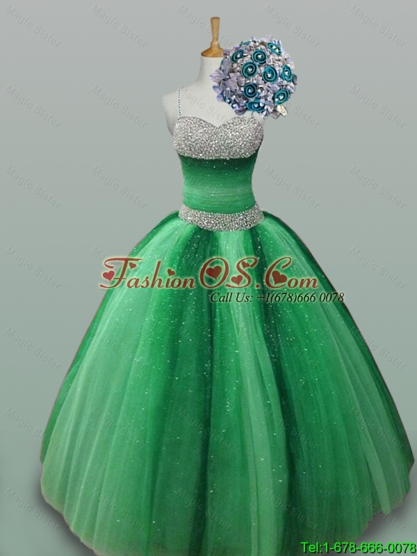 2015 Beautiful Spaghetti Straps Quinceanera Dresses with Beading
