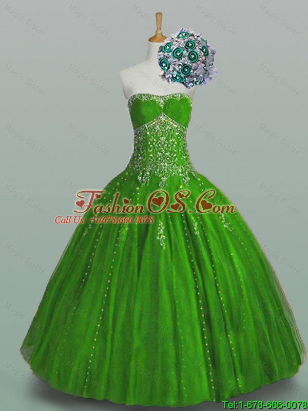 Elegant 2015 Strapless Quinceanera Dresses with Beading and Appliques