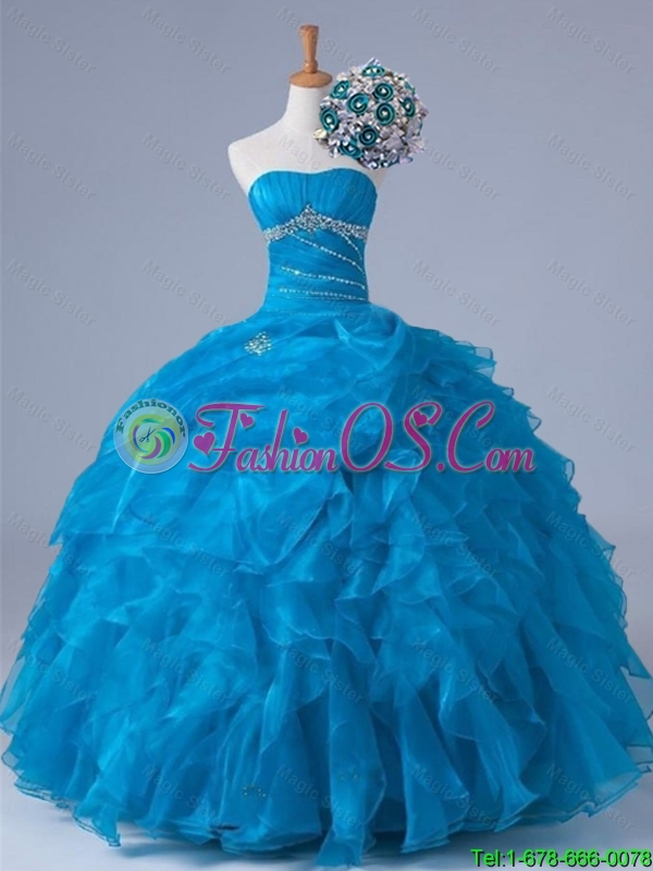Elegant Beading and Ruffles Strapless Quinceanera Dresses for 2015