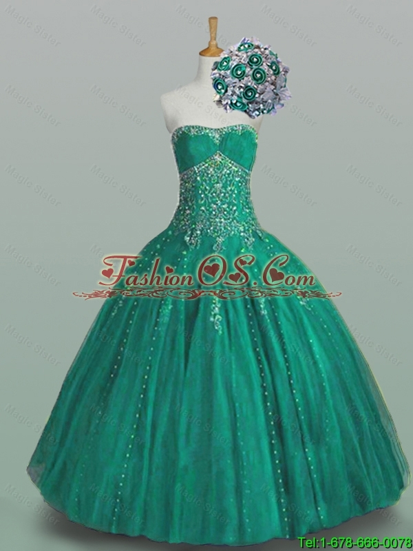 New Arrival 2016 Summer Strapless Quinceanera Dresses with Beading and Appliques