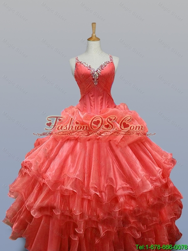 Ruffled Layers Straps Quinceanera Dresses with Beading for 2015