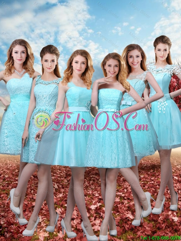 2016 Beautiful A Line Bridesmaid Dresses with Belt in Aqua Blue