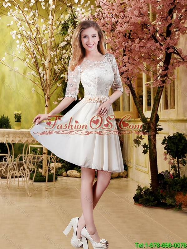 2016 Cheap Champagne Bridesmaid Dresses with Lace and Belt