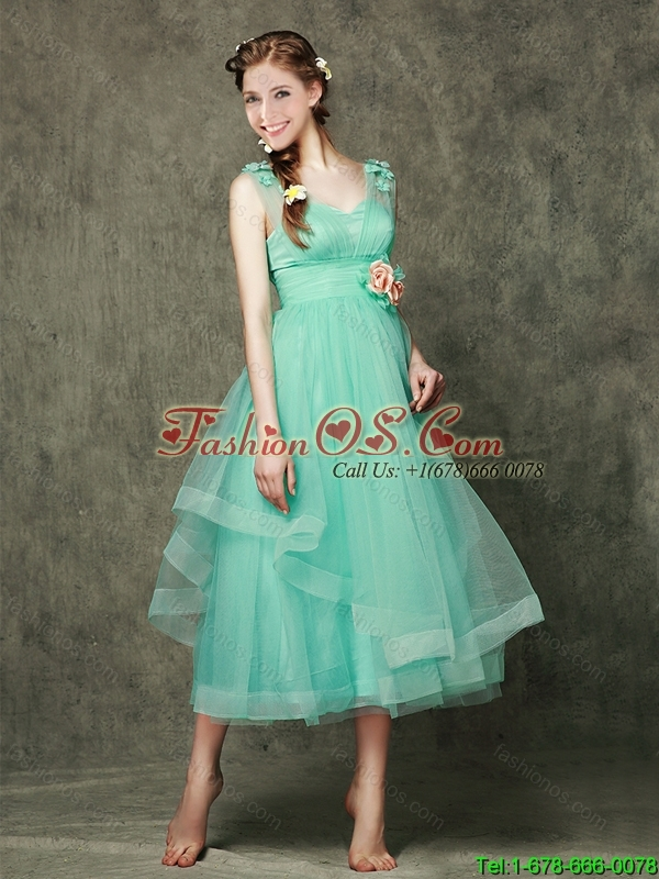 2016 Top Seller Straps Turquoise Bridesmaid Dresses with Hand Made Flowers