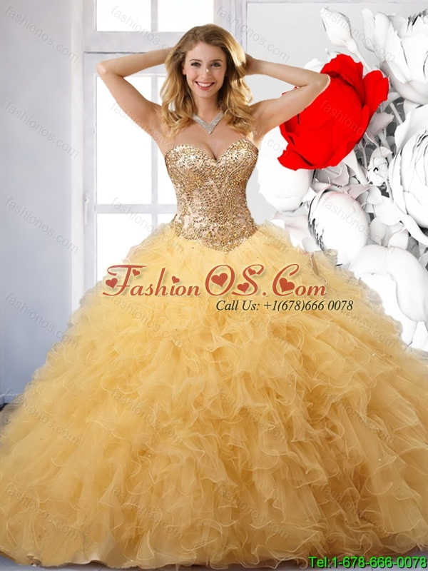 Sturning Yellow Sweetheart Quinceanera Dresses with Appliques and Ruffle