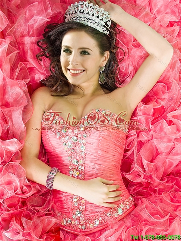 New Style Ball Gown Coral Red Quinceanera Dresses with Ruffles and Beading