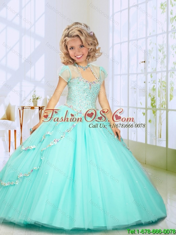 2016 Summer Popular Beading Sweep Train Little Girl Pageant Dress in Mint