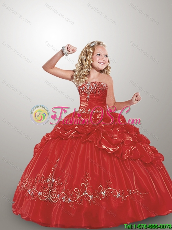 Pretty 2016 Summer Straps Red Little Girl Pageant Dress with Appliques and Pick-ups