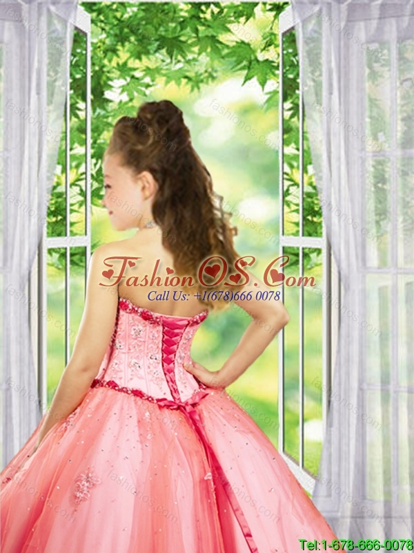 2016 Summer Discount Beading and Appliques Fuchsia Little Girl Pageant Dress